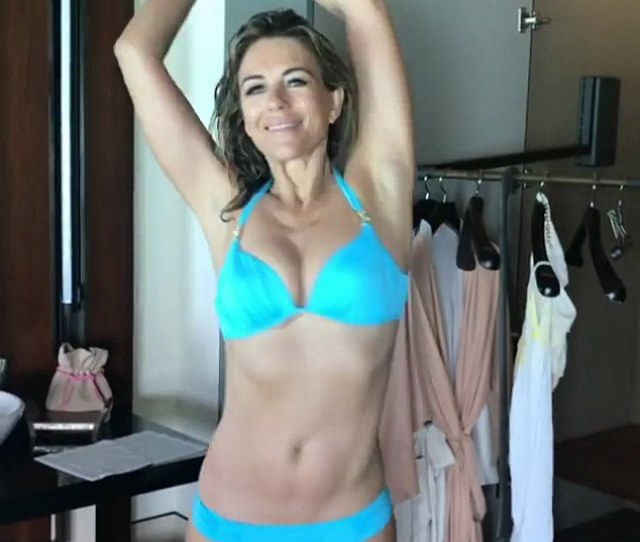 Amazing Elizabeth Paraded Her Age Defying Figure In Bright Blue Bikini On Friday After