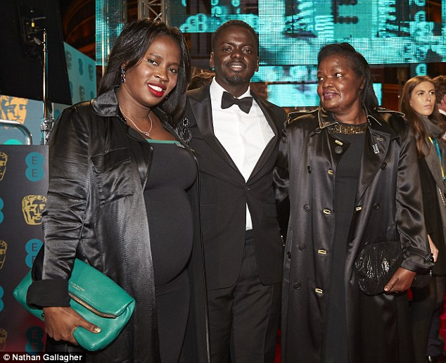 BaftaRising Star Award winner, Daniel Kaluuya with his sister (L) and mum (R) to whom he dedicated his award