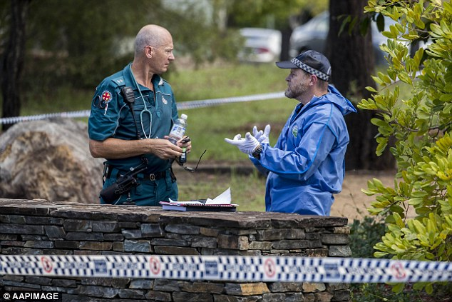 Police said the man was 'armed and enraged' 'trying to break into the house' before emergency services were called