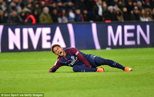 The Brazil star went down in the 80th minute of the 3-0 victory over rivals Marseille