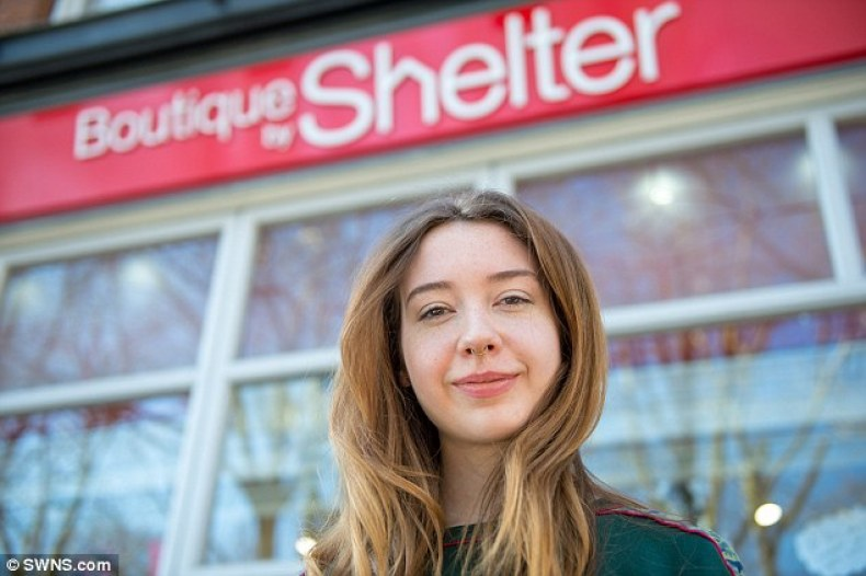 Assistant manager Sophie Condren, outside the Shelter boutique in Hampstead, north London