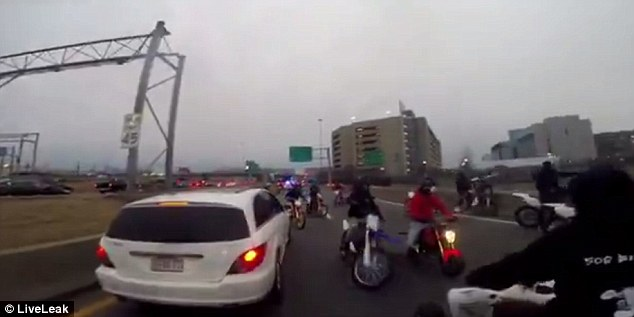 Several drivers were forced to stop as the bunch carelessly drove around the highway