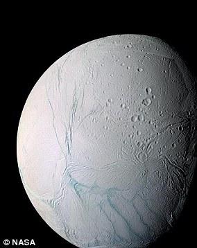 Enceladus (pictured) is the sixth largest moon of Saturn, 313 miles wide (504 kilometers).