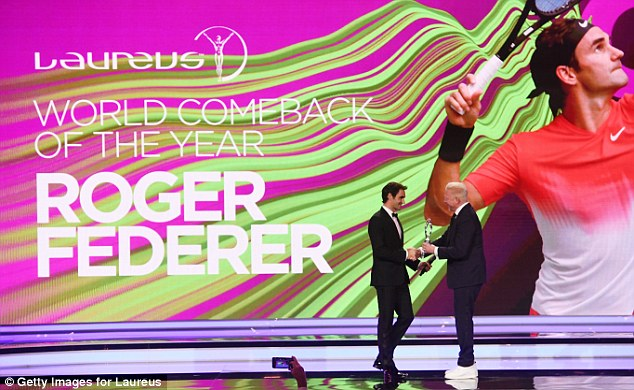 As well as winning Sportsman of the Year,  Federer, 36, won the Comeback of the Year gong