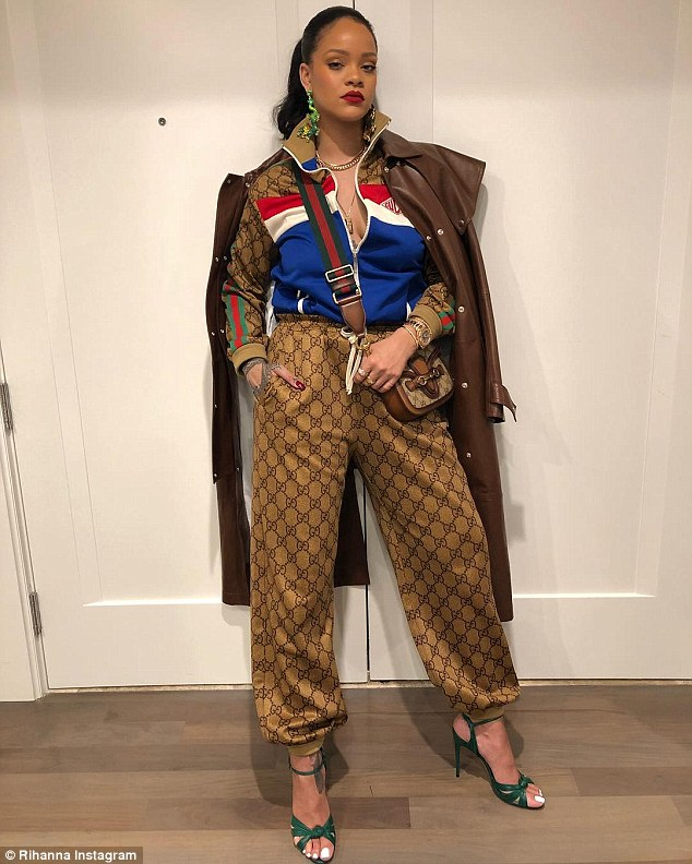 Fashion icon: Rihanna, 30, flaunted her sartorial excellence once again as she took to Instagram on Wednesday with an head to toe Pre-Fall 2018 Gucci snap