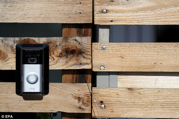 Ring sells doorbells (left) that capture video and audio. Clips can be streamed on smartphones and other devices, while the doorbell even allows remote homeowners to chat with those standing at their door