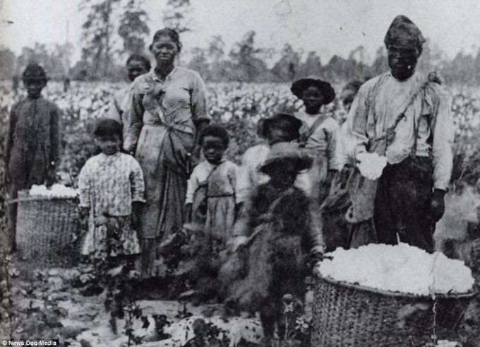 A family of slaves in a field in Georgia in a picture taken around 1850. By 1860, it is estimated that over two million slaves in America were under the age of twenty. Even in infancy, slaves were viewed by their masters and by society as a whole as monetary assets - not legal people in their own right