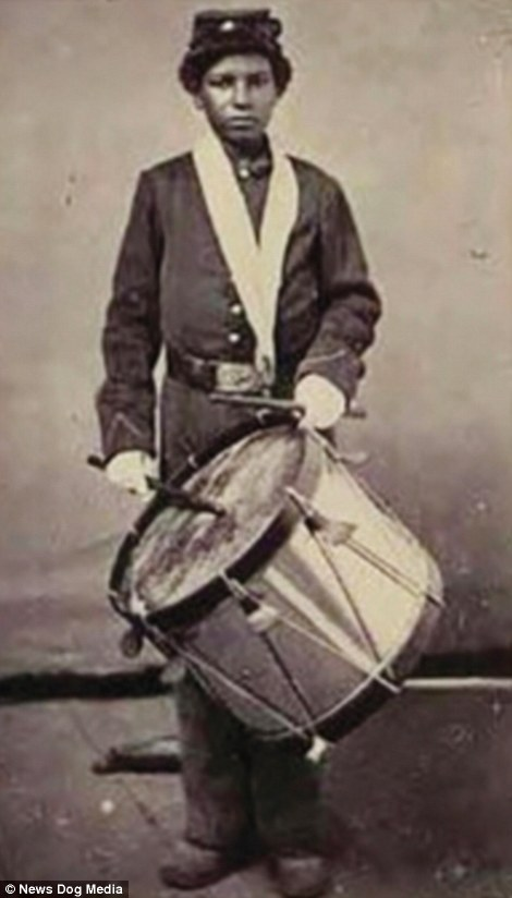 Drummer Jackson. This picture was circulated by the Union army to encourage African-Americans to enlist. Drummer boy Jackson would have used up to 40 different beats to convey his commander's orders to assemble for formation. Like many other drummers, he also served as a stretcher bearer