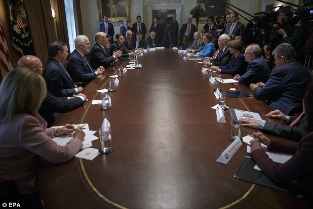 Asked if he'd sign legislation making 21 the floor for buying certain firearms, Trump said,'I'll tell you what, I'm going to give it a lot of consideration, and I'm the one bringing it up, and a lot of people don't even want to bring it up because they're afraid to bring it up