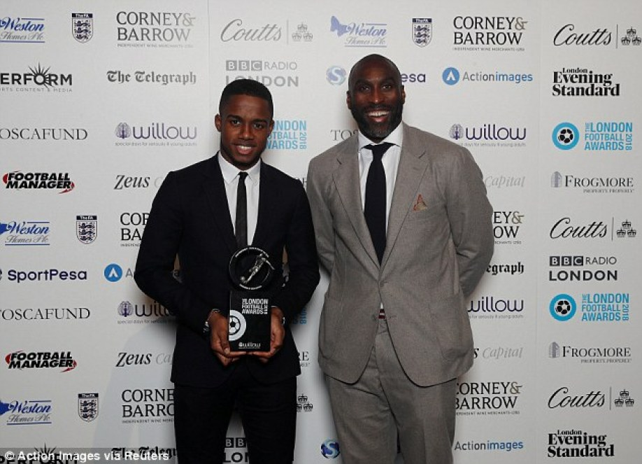 Ryan Sessegnon (left) poses with Sol Campbell after claiming the young player honour