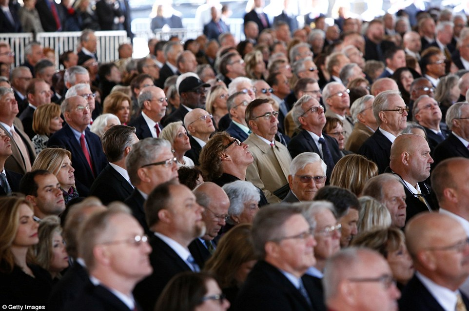 Crowds: There were 2,300 guests invited to the funeral service on Friday in Charlotte (guests above)
