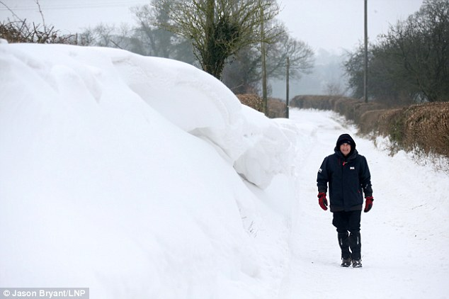 Huge snow drifts are still on the ground in Somerset as cold temperatures persist across parts of the south west today