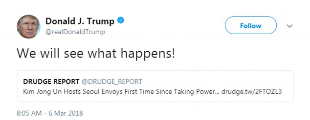 First, Trump sent out a tweet on Tuesday morning that said, 'We will see what happens!'