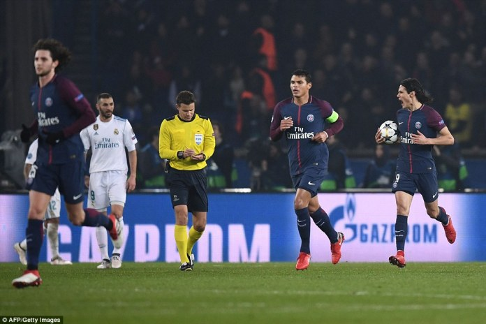 The home side gave themselves a glimmer of hope with 20 minutes to play when the ball hit Edinson Cavani and went in