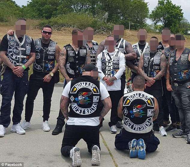 Escalating violence between rival bikie gangs around Newcastle, north of Sydney, has sparked fears of a turf war (Pictured are members of the Newcastle chapter of the Nomads)