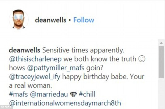'Your a real woman': On Thursday, Dean took to his Instagram page to reflect upon his showdown with Charlene on Wednesday night's episode