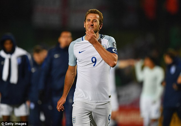 Harry Kane pictured wearing the captain's armband during England's match in Lithuania