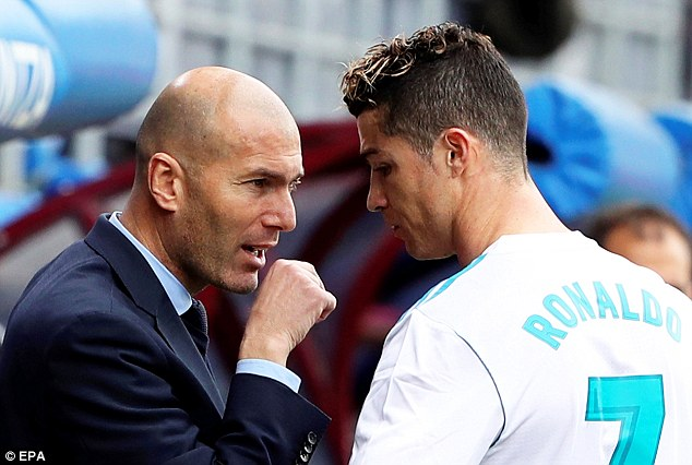 With the game in the balance Zidane issues instructions to would-be match-winner Ronaldo
