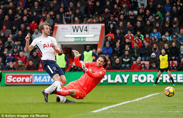 Harry Kane collided with Bournemouth's Asmir Begovic in the first half on Sunday afternoon