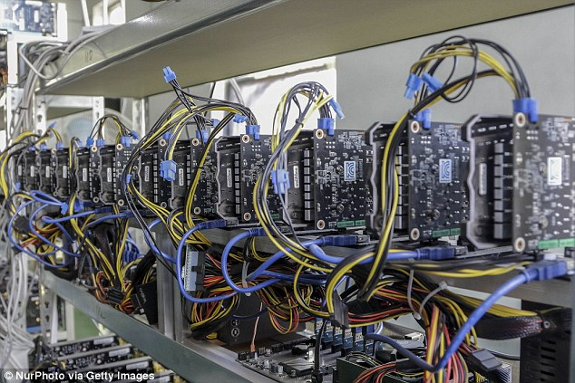 In cryptocurrency mine like Project Spokane, computer processors constantly work to solve complex cryptographic puzzles to earn digital currency (pictured is a cryptocurrency mine in South Korea)
