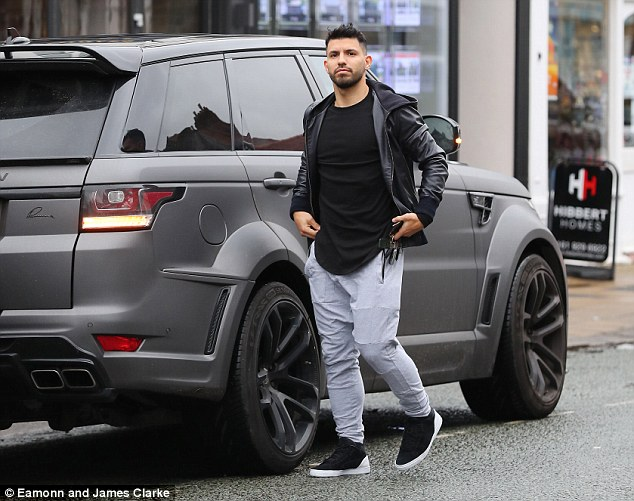 Sergio Aguero was pictured heading to popular Hale restaurant Victor's on Monday afternoon