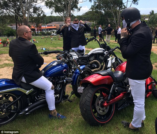 His friends were pictured hopping on top of Triumph motorbikes at the cemetery