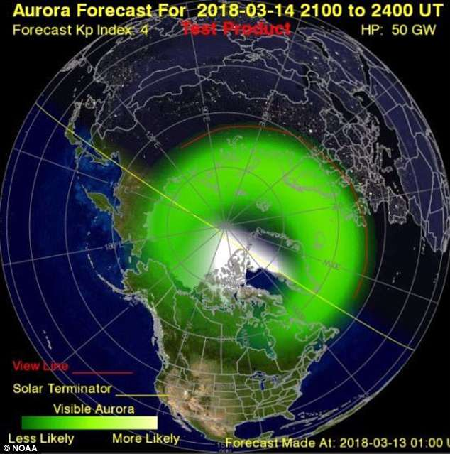 The US National Oceanic and Atmospheric Administration says that the forecast suggests the solar storm will be a G-1 or 'minor' storm. Pictured is the aurora forecast at 9:00pm GMT (5:00pm ET) tomorrow