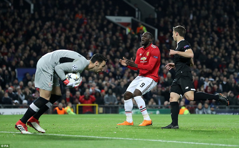 Lukaku shows his frustration after he was unable to control a ball into his path during a difficult first-half on Tuesday