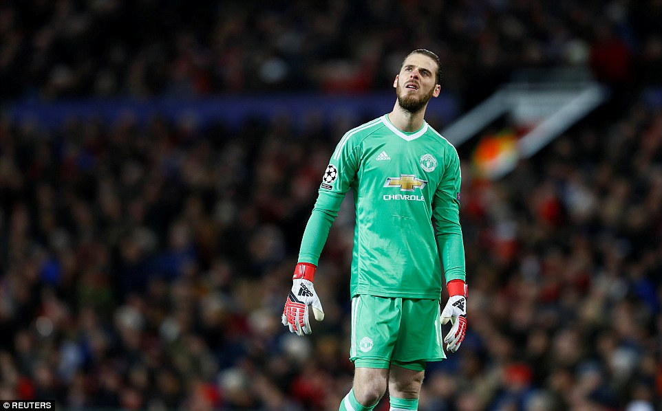 De Gea shows his dejection after United went behind at Old Trafford courtesy of a goal from Sevilla substitute Ben Yedder