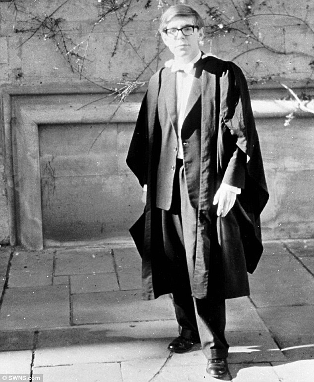 Stephen Hawking at his Oxford graduation after being awarded his degree in 1962