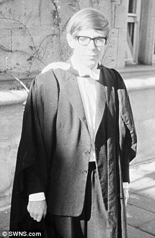 Stephen Hawking at his Oxford graduation a year before his devastating MND diagnosis in 1963