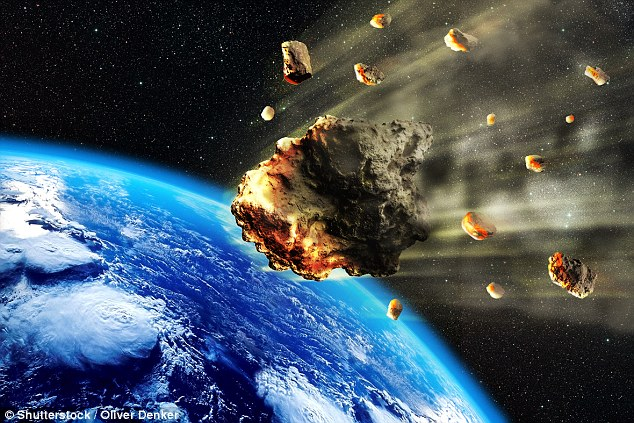 If global warming doesn't wipe us out, Hawking believed Earth would be destroyed by an asteroid strike (stock image)
