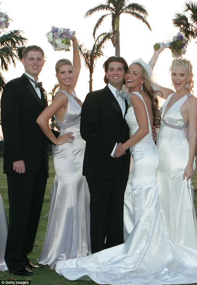 Wedded bliss: The couple was married in 2005 at Mar-a-Lago and had five children during the first 9 years of their marriage (l to r: Eric, Ivanka, Donald, Vanessa and Veronika Haydon)