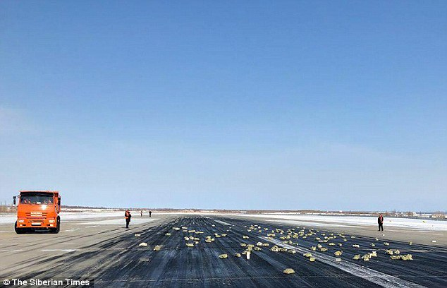 Precious metals and diamonds rained over the runway and a swathe of Yakutia, the coldest region in Russia