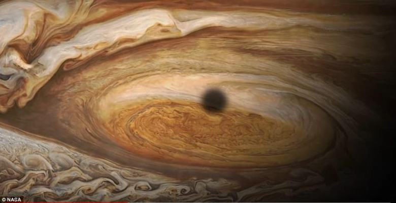 Scientists suggest the changes are the result of the storm's shifting winds, which reach speeds of 425 miles per hour (680kph) as they push Jupiter's crimson clouds counterclockwise around the planet's southern hemisphere