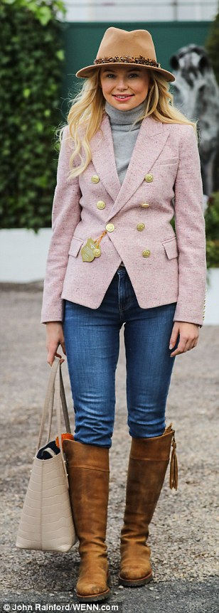 Georgia Toffolo struck a casual figure in jeans and a pink tweed blazer