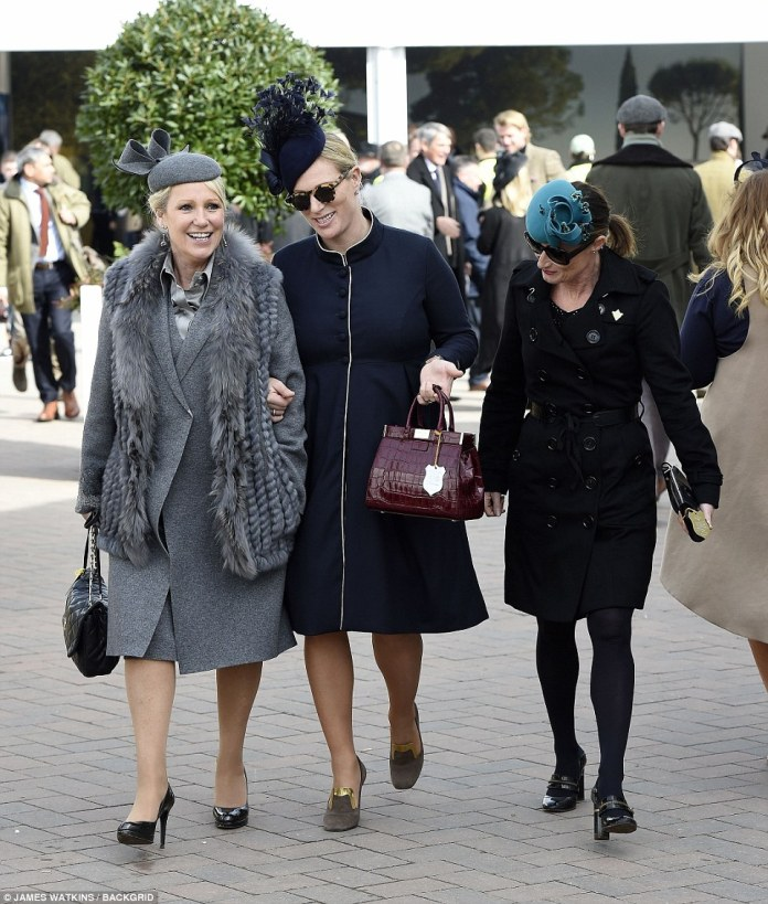 Zara was on fine form as she strolled through the grounds arm-in-arm with a female friend