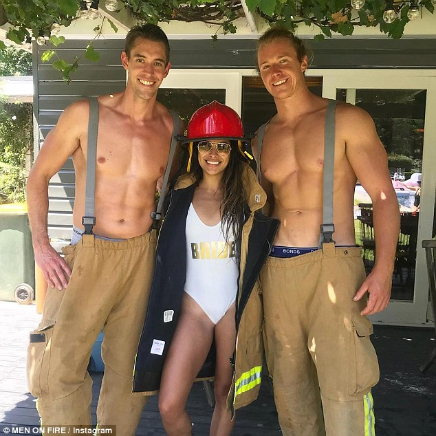 Where's your PPE? 'Fireman Sam' is frequently pictured in various racy shirtless images, usually covering the lower-half of his body in a firefighter's outfit for thematic purposes