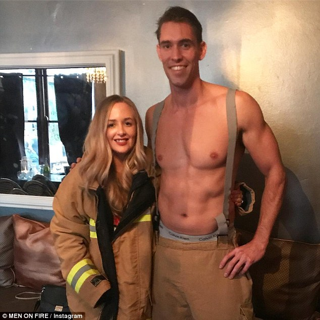 On fire! The man who participated in the prank has since been identified as 'Fireman Sam,' an exotic dancer who works for a hire company called Men On Fire