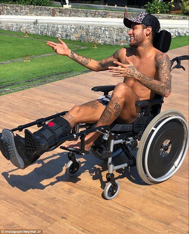 Brazilian star Neymar has had to use a wheelchair following surgery as he rehabilitates