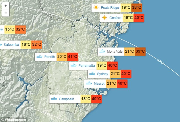 This map shows the extraordinary temperatures forecast for NSW on Sunday