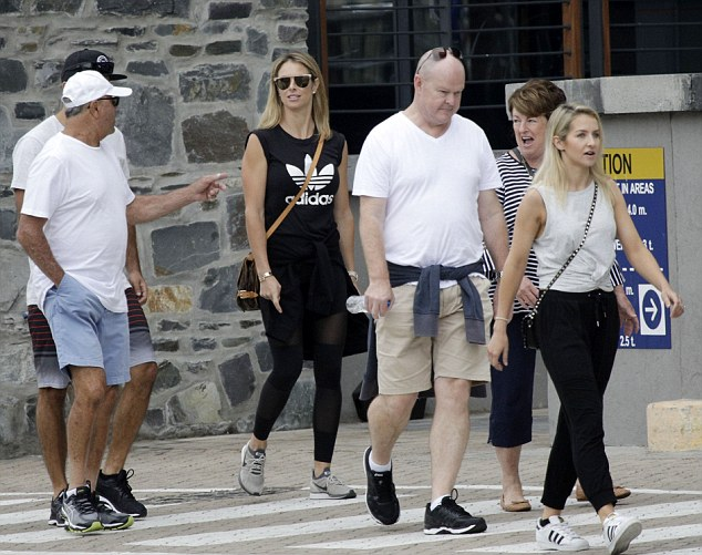 Candice Warner (black top) was joined with members of her family in Cape Town this week