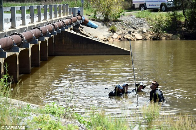 Pictured are police divers searching the Pimpama river on the Gold Coast a week after Tiahleigh's body was found