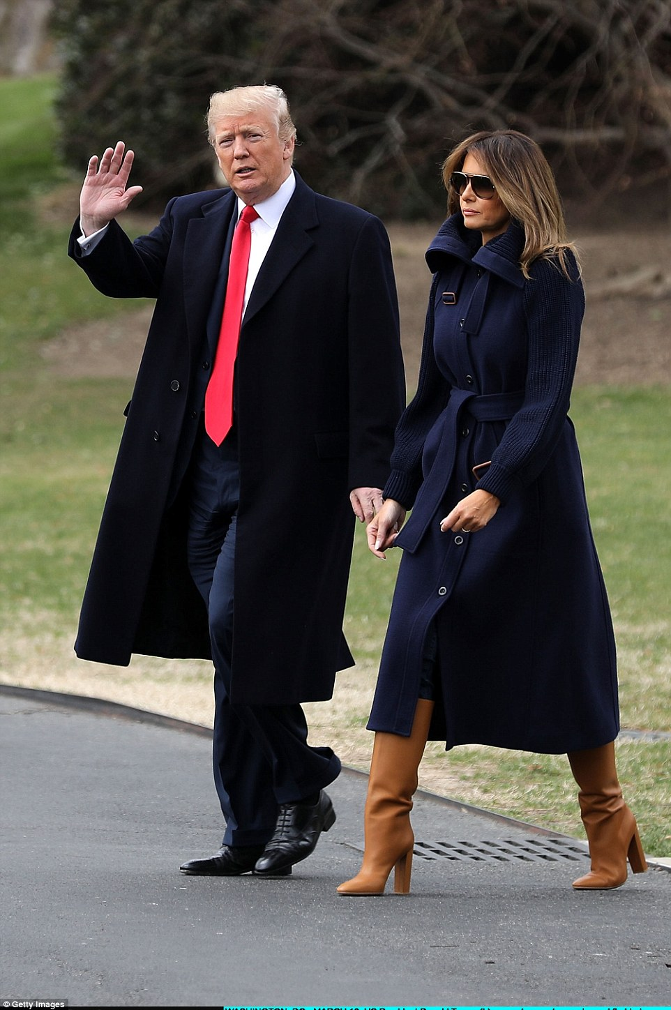 Boots: Melania paired her brown leather footwear with a Chloe coat