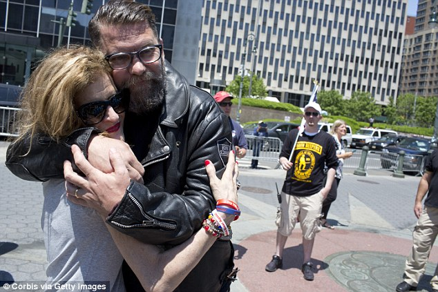 Proud Boys founder Gavin McInnes (pictured in leather jacket) preaches against masturbation
