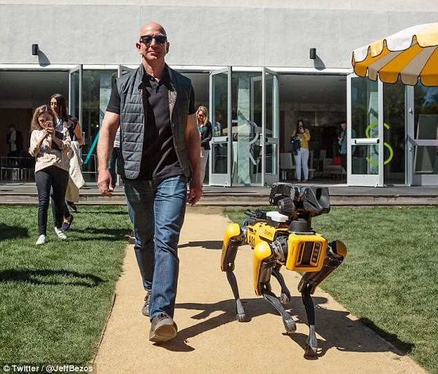 Amazon CEO Jeff Bezos has taken a creepy robotic dog for a walk around a secretive conference in California. Bezos, who is worth a reported £92 billion ($130 billion), posted the photo to his Twitter account on Monday with the caption: 'Taking my new dog for a walk'