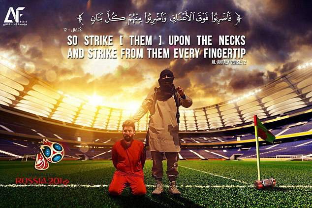 One ISIS poster released earlier this year shows Lionel Messi on his knees wearing an orange Guantanamo Bay-style jumpsuit, often seen worn by victims in the terrorists' execution videos