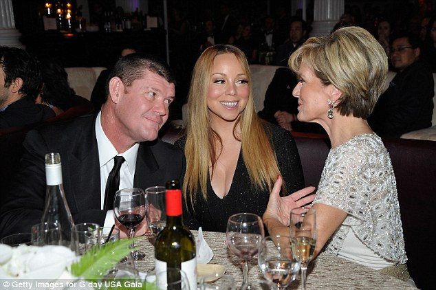 The resignation comes less than a year after Mr Packer (pictured, left, with Mariah Carey, middle and Julie Bishop, right) returned to the Crown board, having previously stepped down as chairman in August 2015