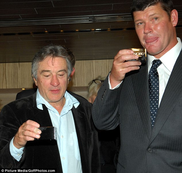Packer has enjoyed a playboy lifestyle in recent years, hobnobbing with Hollywood royalty including Robert de Niro (left, in 2007) and Brad Pitt