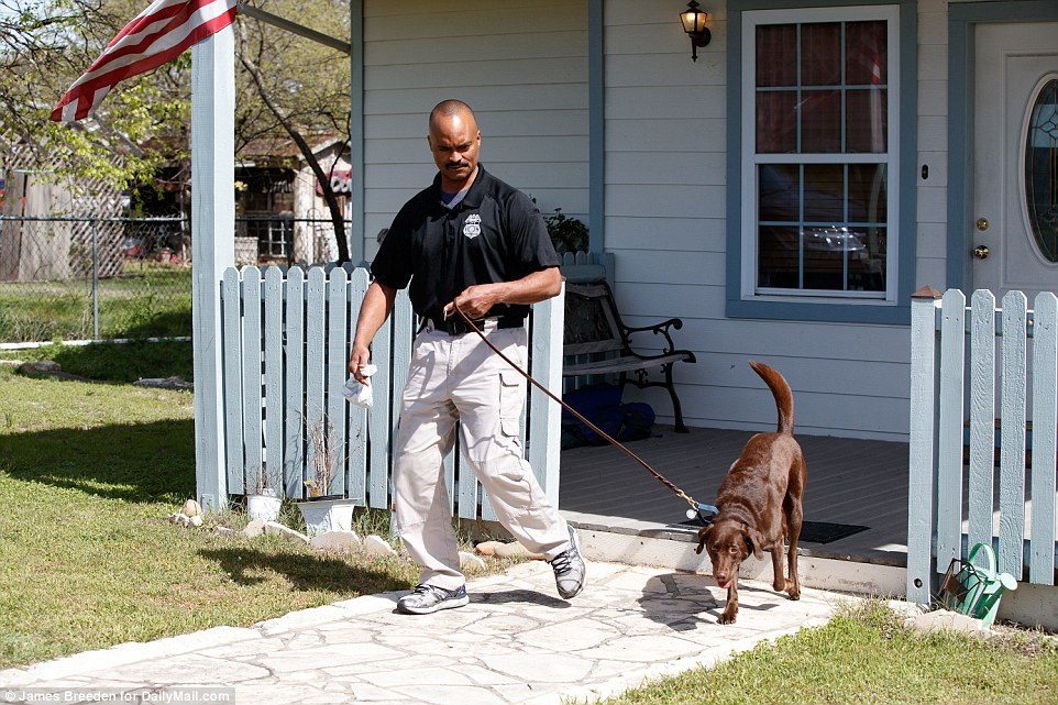 ATF Special Agent George Goodman flew in from Michigan with his five-year-old chocolate lab Bonny to search the parents' property after the series of bombings but didn't locate anything